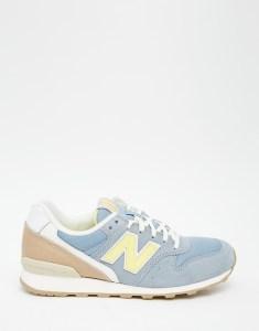 Желто-голубые замшевые кроссовки New Balance 996