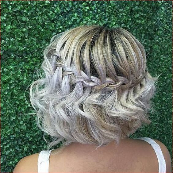 Short female hairstyle with a slanting waterfall