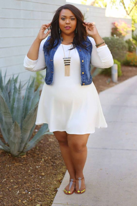 2019 fashion large sizes with a white dress and denim vest