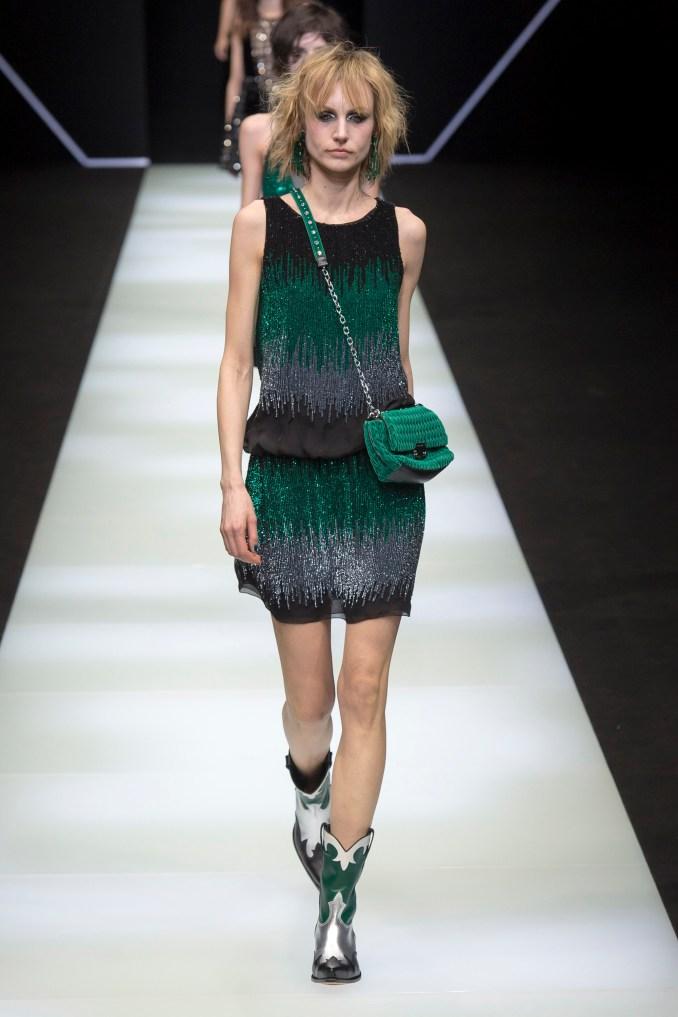 Emporio-Armani 2019 black-green-gray short dress with rhinestones