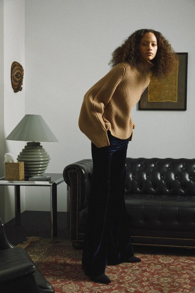 Khaite 2019 beige sweater with black velvet trousers