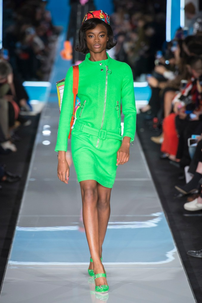 Moschino short dress in light green 2019 with matching shoes