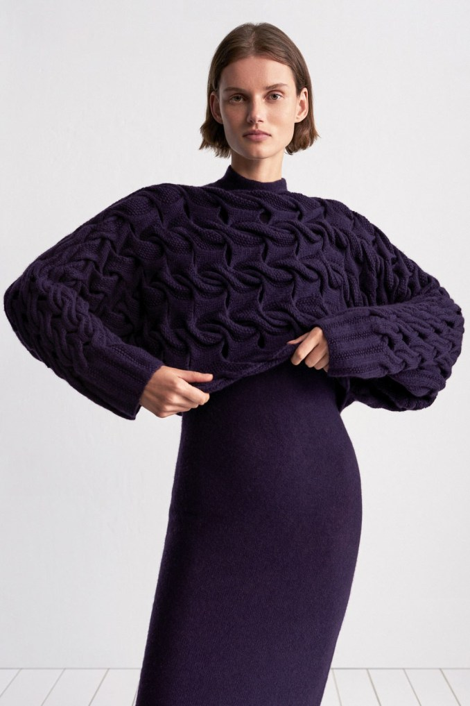 TSE 2019 High Violet Coarse Knit Sweater with Purple Dress