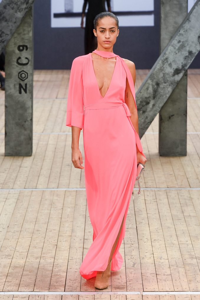 Akris pink asymmetrical long sleeve dress 2019 pink