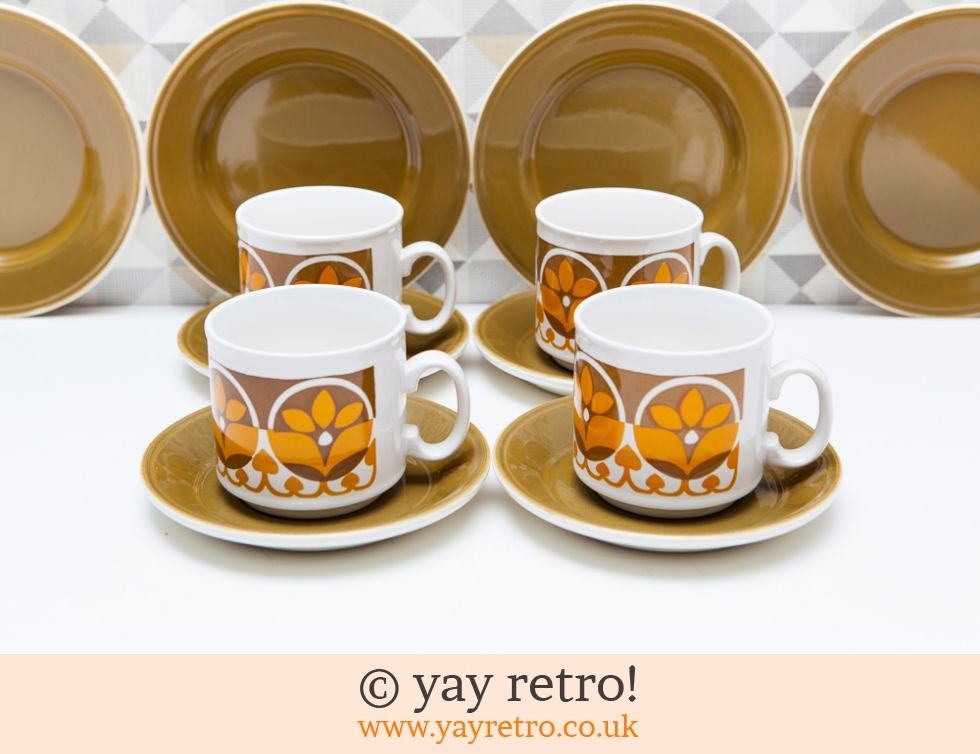 Fab Tea Set For 4 Funky Mustard Vintage Shop Retro