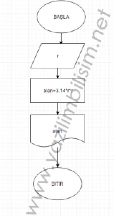 Yarı çapı verilen çemberin alanını hesaplayan algoritma ve akış şemasını
