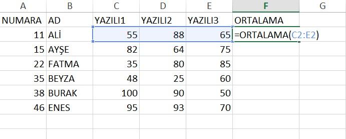 excel_ortalama