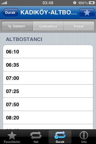 iPhone istanbul otobüs durakları uygulaması