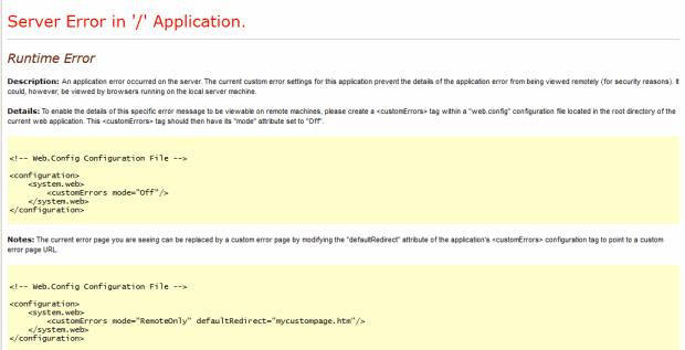 ASP.NET Server Error in '/' Application