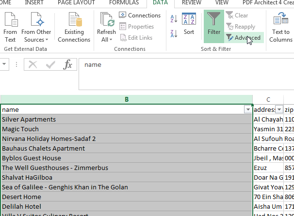 Microsoft Excel 2013 filter on multiple (1, 2 or more than 2) criterias : Selection of the list to filter with multiple criteria