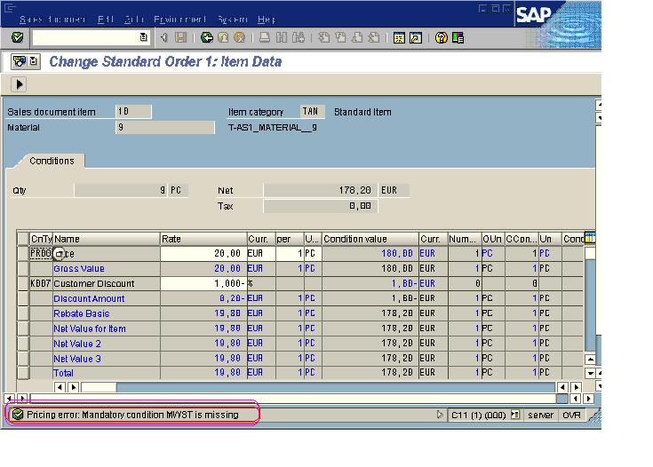 SAP solve Pricing error: Mandatory condition MWST is missing