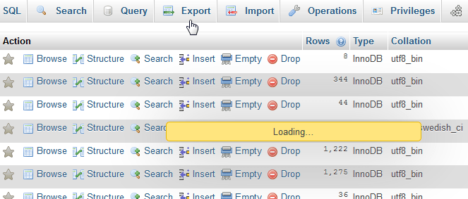 PHPMyAdmin table content not displaying, table marked as crashed and should be repaired, client hasn't closed the table properly - InnoDB tables : Table content not displaying