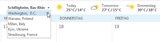Outlook calendar - change weather locations : List of favorite weather locations