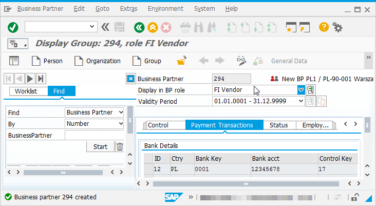 SAP S/4 HANA ECC6.0 Create a Business partner in new BP transaction : Vendor created and identifier given by the system