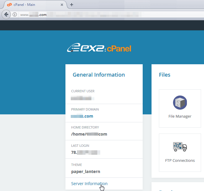 CPanel get the host server IP address : Server information menu in cPanel homepage