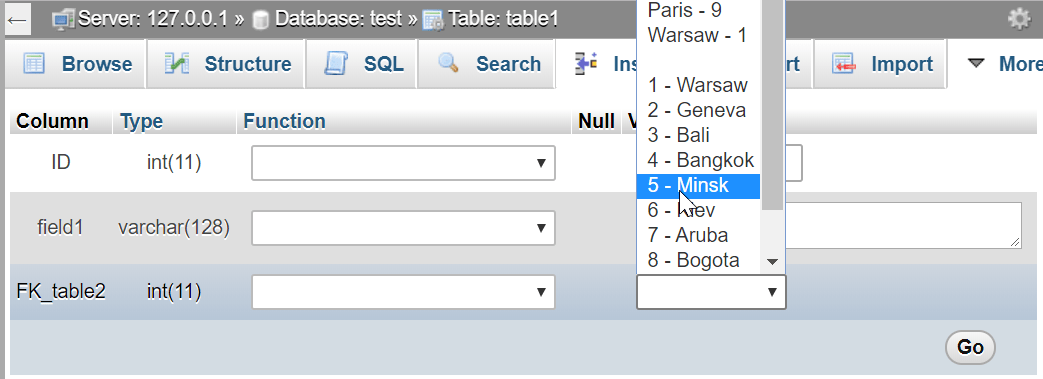 How to add a foreign key in phpMyAdmin : Foreign key displayed with table field during entry insertion