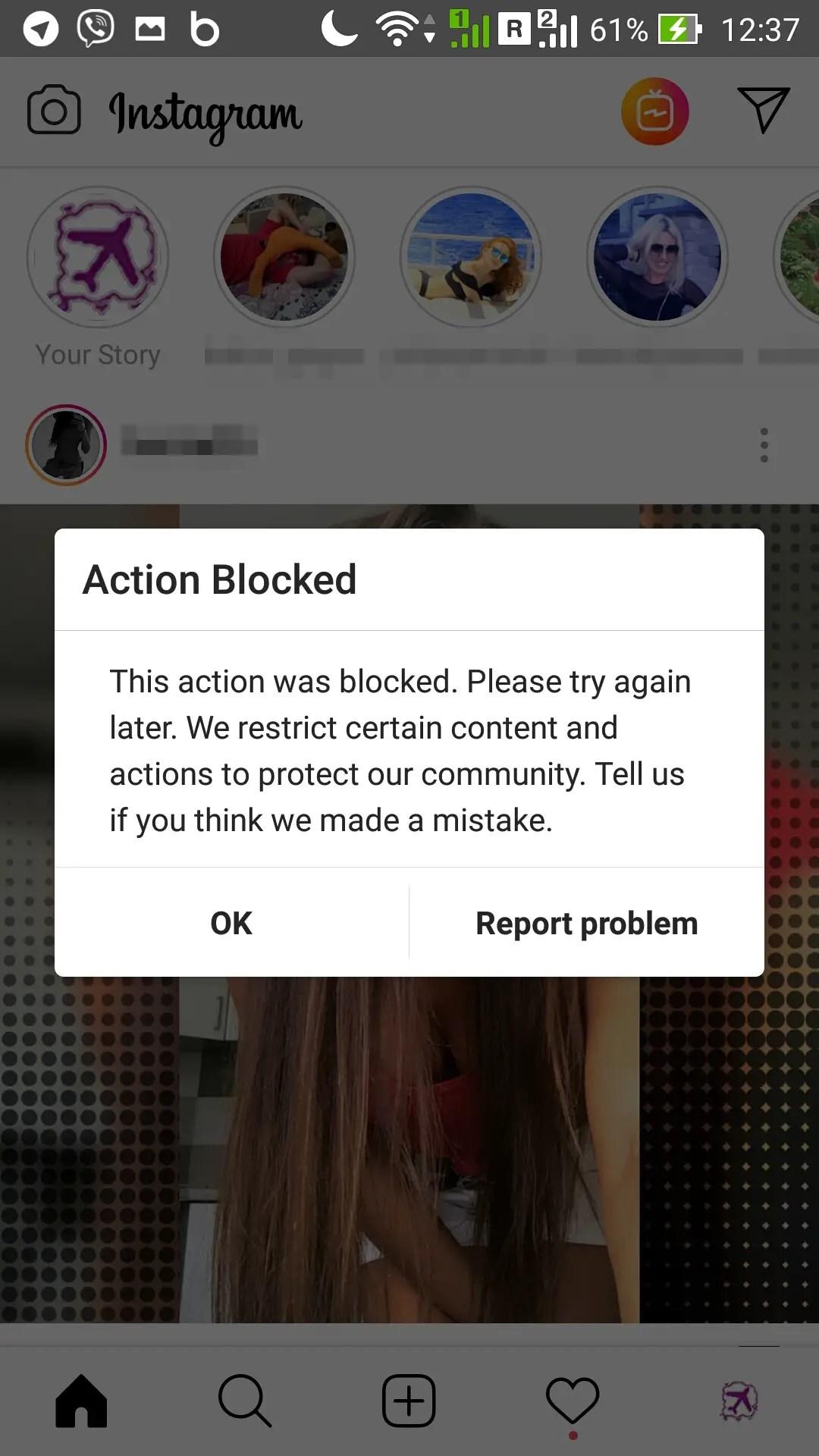Instagram action blocked : Instagram temporarily blocked