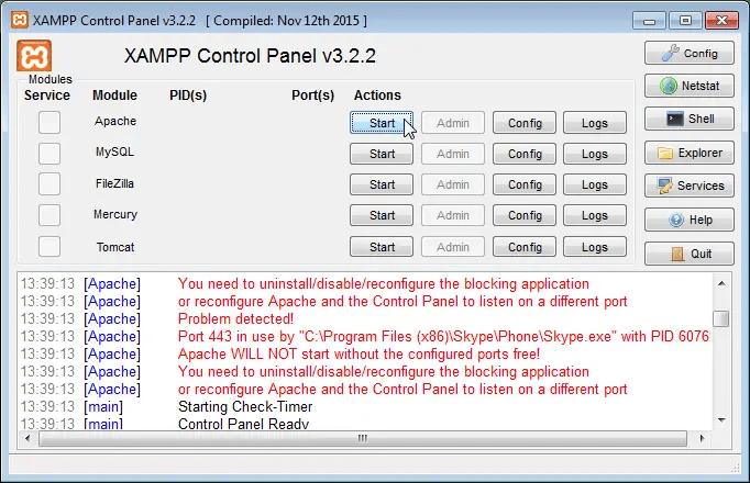 XAMPP Apache Port 443 in use