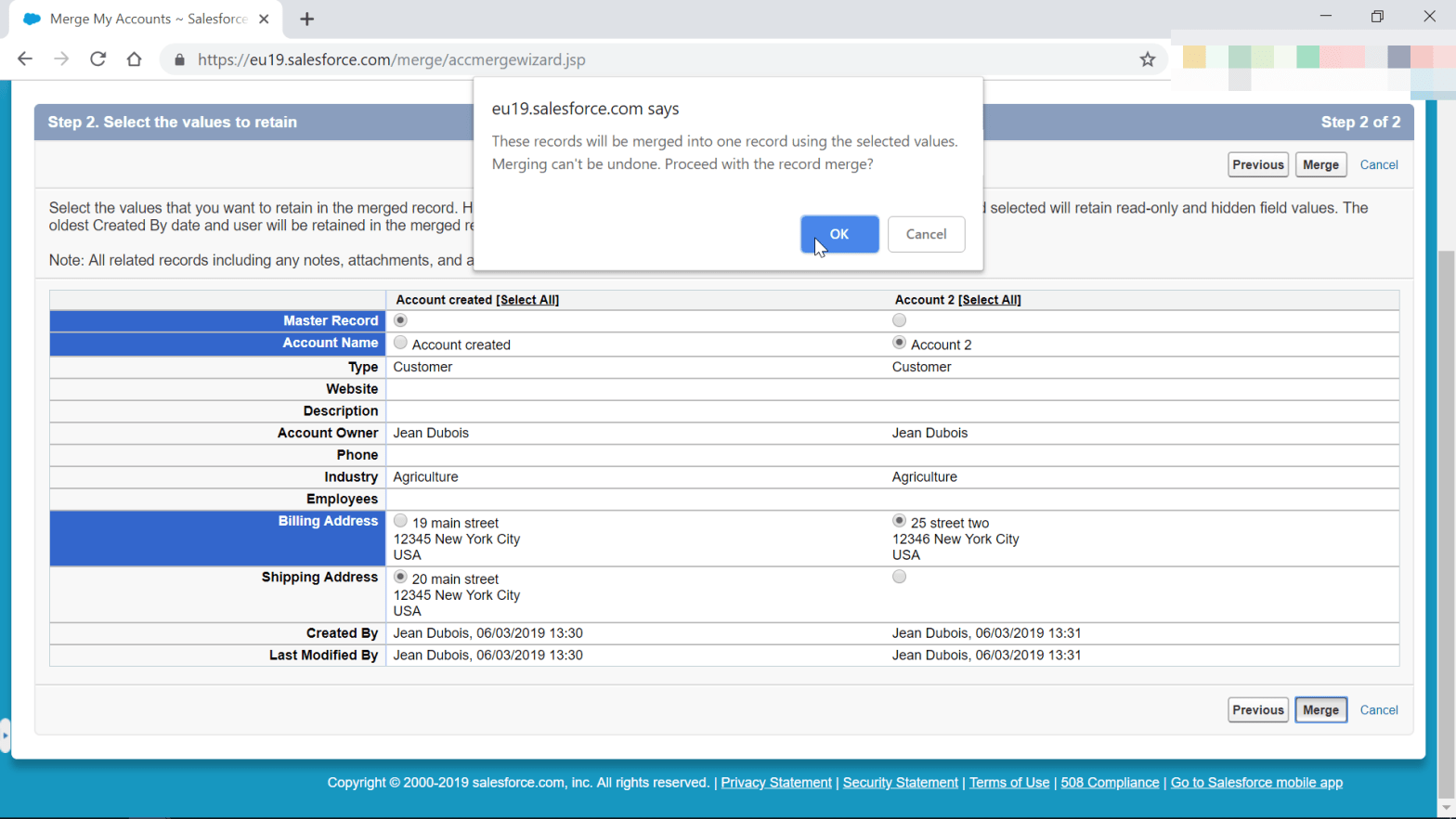 How to merge accounts in SalesForce Classic?