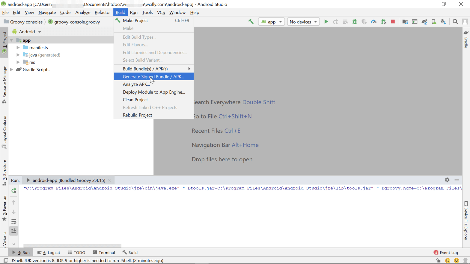 How to make APK from Android Studio? Generate a signed bundle