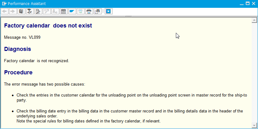 Solve issue factory calendar in SAP does not exist