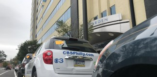 CBS van parked and booted right outside of their Philadelphia studios Friday morning (PHOTO: YC.NEWS/NIK HATZIEFSTATHIOU)