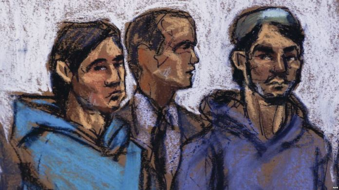 courtroom sketch shows Akhror Saidakhmetov (left), 19, of Kazakhstan and Abdurasul Hasanovich Juraboev (right), 24, of Uzbekistan, and court interpreter Akhror Saidakmetov appear in the Federal District Courthouse in New York in February 2015.