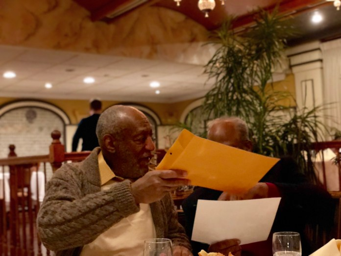 Bill Cosby joined by Ed Ford (right) in Philadelphia Wednesday night. (YC.NEWS PHOTO/NIK HATZIEFSTATHIOU)
