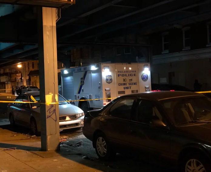 Philadelphia Police on the scene of a police-involved shooting on the 2800 block of Kensington Avenue. (YC.NEWS PHOTO/NIK HATZIEFSTATHIOU)