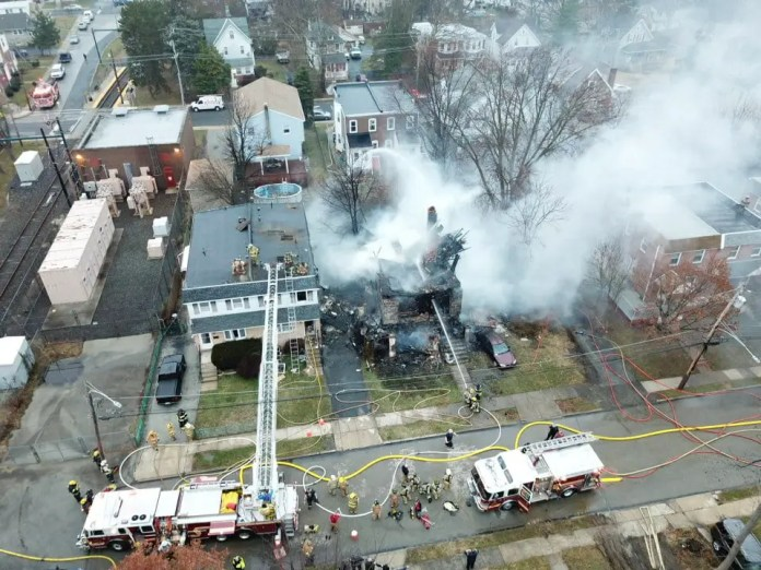 3-alarm fire rips through Collingdale home early Wednesday morning. (YC.NEWS/ANTHONY JOHNSON)