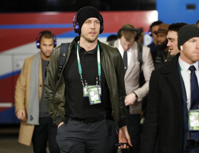 Philadelphia Eagles quarterback Nick Foles arrives before the NFL Super Bowl 52 football game against the New England Patriots Sunday, Feb. 4, 2018, in Minneapolis. (AP Photo/Matt York)