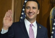 FILE - In this Tuesday, Jan. 3, 2017, file photo, U.S. Rep. Ryan Costello, R-Pa., participates in a mock swearing-in ceremony on Capitol Hill in Washington. Costello announced on Sunday, March 25, 2018, that he would not be seeking re-election, ending weeks of speculation about his future and boosting Democratic hopes of winning his House seat. (AP Photo/Zach Gibson, File)