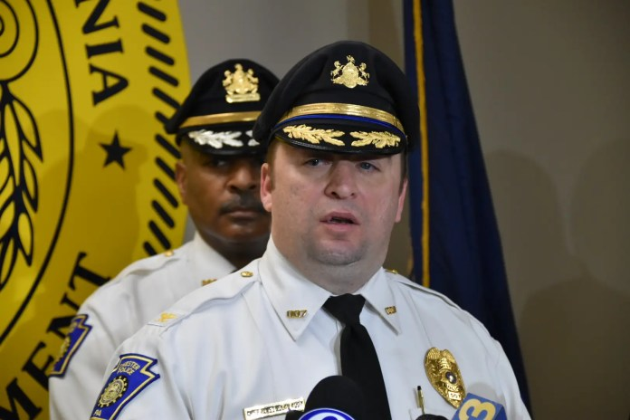 City of Chester Police Chief James Nolan holding a press conference on May 1, 2018 following an incident where a man opened fire on Chester City Police during a domestic dispute. (YC.NEWS PHOTO/NIK HATZIEFSTATHIOU)