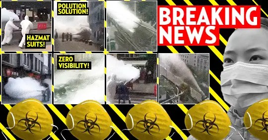 Chinese government in hazmat suits spray down entire country