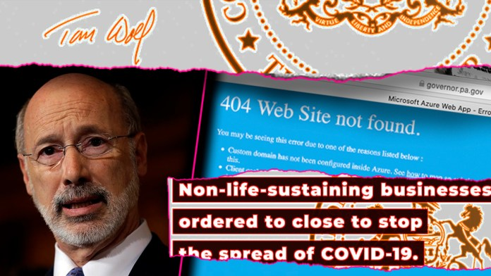 Pa. Gov. Wolf's website crashed following news of coronavirus business closures » Your Content