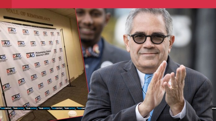 Philly DA Krasner covers up ENTIRE wall of fallen police officers with election backdrop for press conference