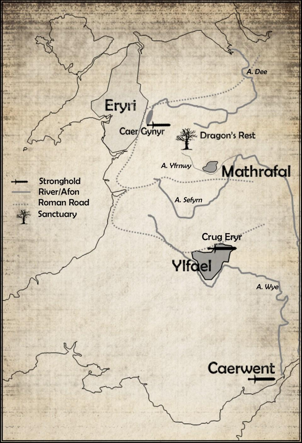 Cymry 528AD [Eryri, Mathrafal, Elfael, Caerwent]