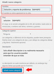 como crear categorias en wordpres