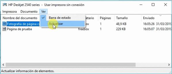 eliminar documentos en cola windows 10