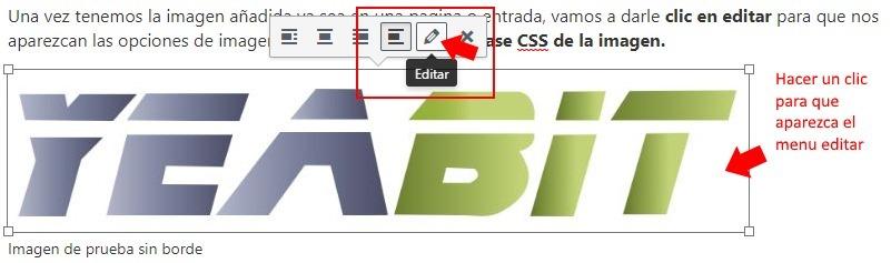 añadir borde en imagenes wordpress