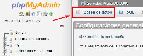 bases de datos wampserver wordpress