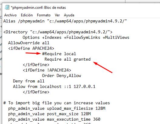 acceder phpmyadmin wampserver desde otra pc