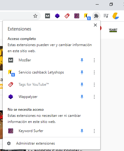 ver extension letyshops google chrome