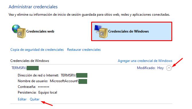 eliminar credenciales de red windows 10