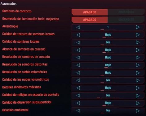 ajustes avanzados cyberpunk 2077