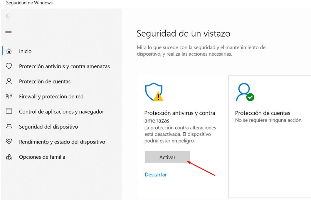 como activar la proteccion antivirus en windows 10