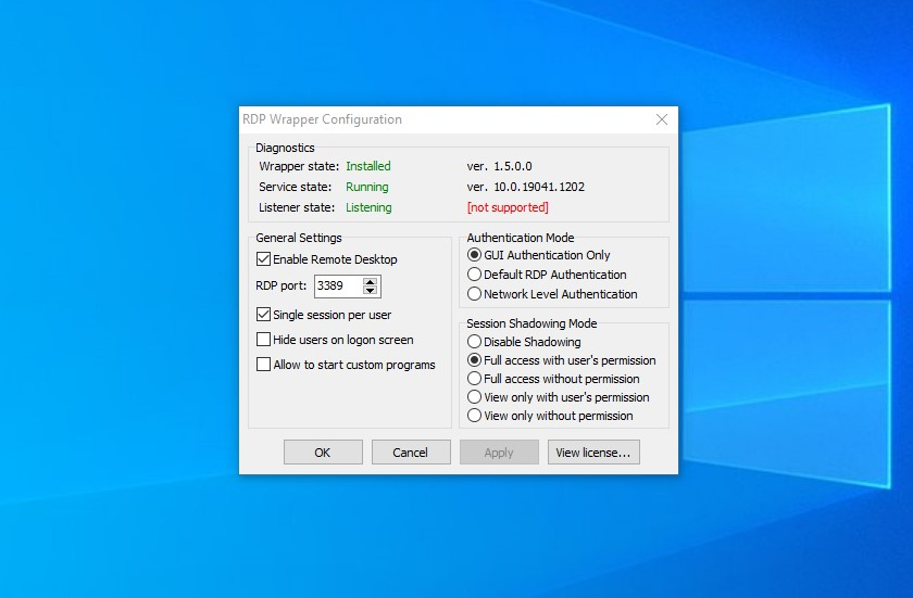rdp wrapper not supported windows 10 20h2