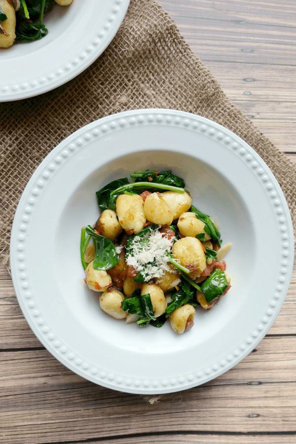 Quick Skillet Cheese Gnocchi with Pancetta and Spinach