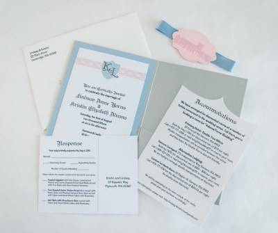 The custom shape of the accommodations card echoes the shape of the monogram crest on the invitation.