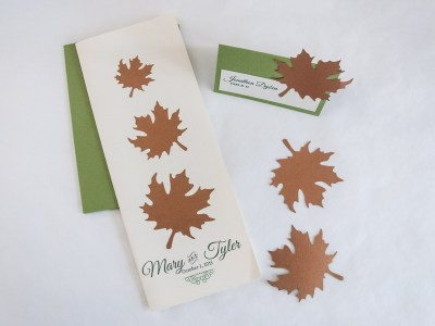 Copper & Green Autumn Wedding Invitation - Program and Place cards